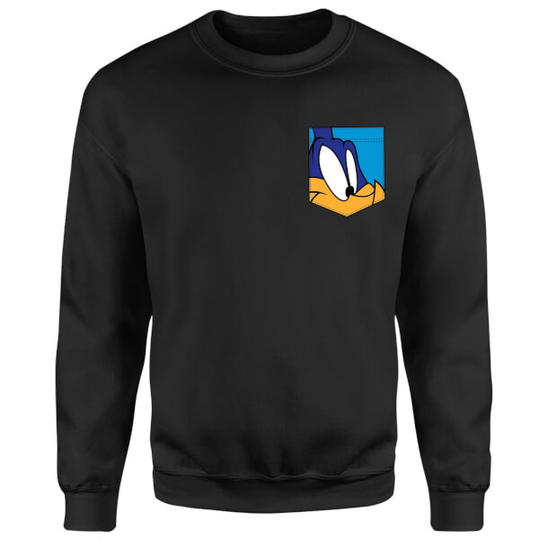 Looney Tunes Roadrunner Face Faux Pocket Sweatshirt - Black