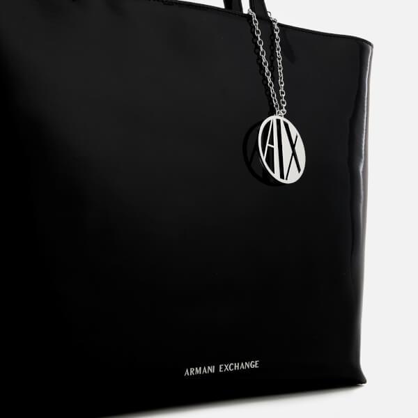 b795811cc06 Armani Exchange Women s Patent Shopping Tote Bag - Black Womens ...