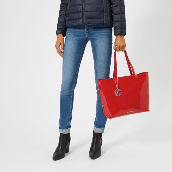 Armani Exchange Women s Patent Shopping Tote Bag - Red  Image 3 32e6233f8da8a