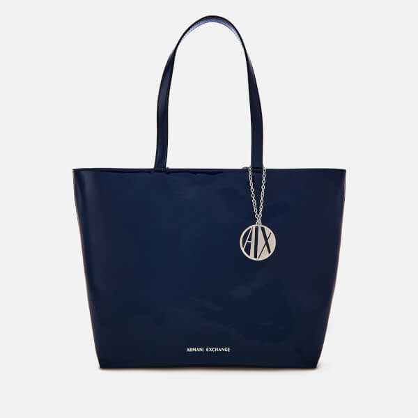 Armani Exchange Women's Patent Shopping Tote Bag - Navy