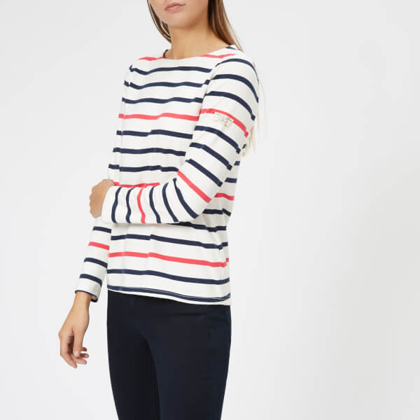 Joules Women's Harbour Jersey Top - Navy Raspberry Stripe