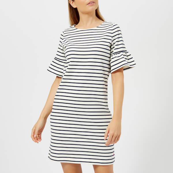 Joules Women's Sienna Fluted Sleeve Jersey Dress - Cream Navy Stripe