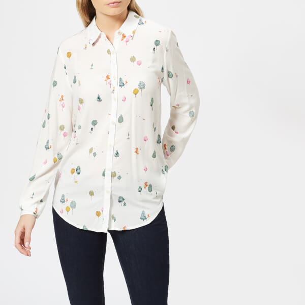 Joules Women's Elvina Soft Woven Printed Blouse - Cream Woodland