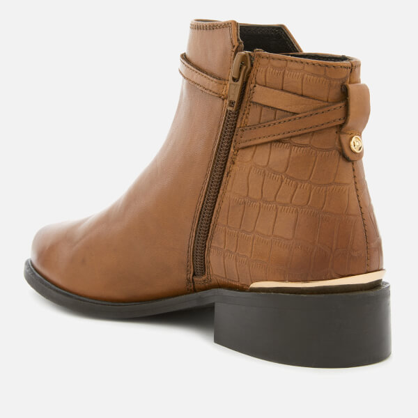 Dune Women S Peppey Leather Flat Ankle Boots Tan Free Uk