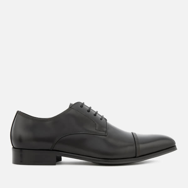 Dune Men's Papyrus Leather Toe Cap Derby Shoes - Black