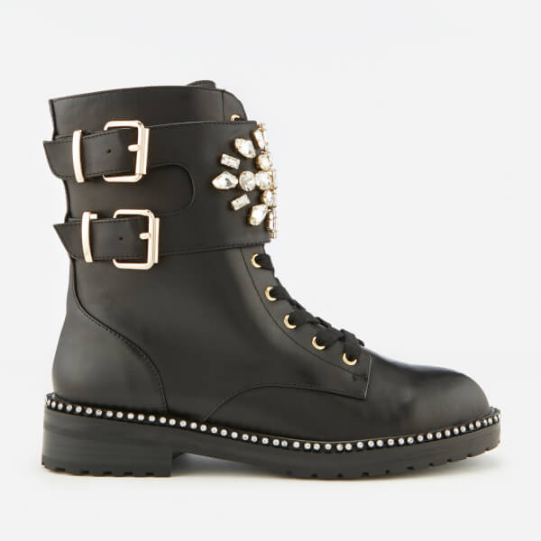 3db4fc654462 Kurt Geiger London Women s Stoop Leather Lace-Up Boots - Black  Image 1