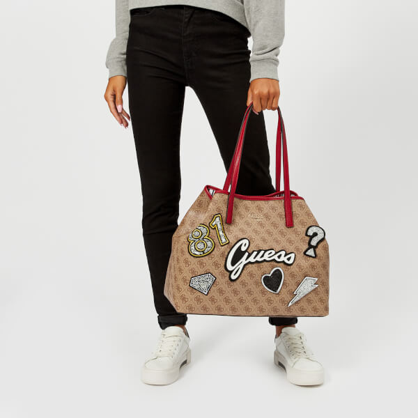 afabcba2287 Guess Women s Vikky Large Tote Bag - Brown Multi  Image 3