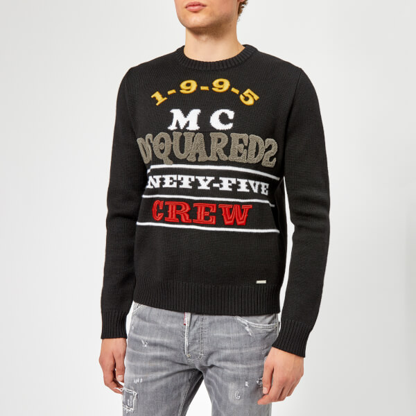 Dsquared2 Men's Logo Knitted Jumper - Black Embroidered