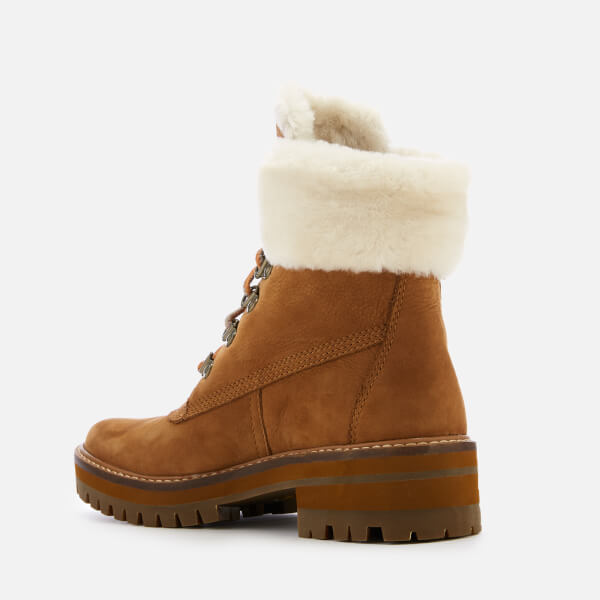 37dc48a57794e Timberland Women s Courmayeur Valley Shearling Lace Up Boots - Saddle   Image 2