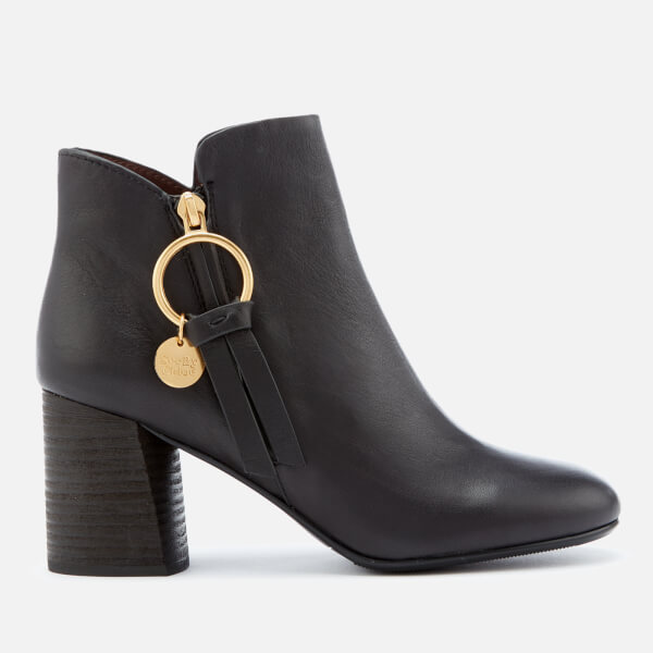 See By Chloé Women's Ring Zip Detail Heeled Ankle Boots - Nero