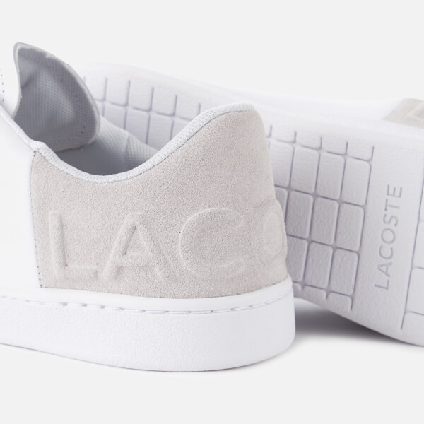 1040a57fdd2183 Lacoste Women s Carnaby Evo 318 3 Leather Suede Trainers - White Light Grey