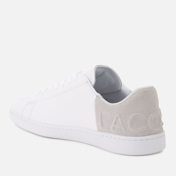 69884e015910 Lacoste Women s Carnaby Evo 318 3 Leather Suede Trainers - White Light Grey
