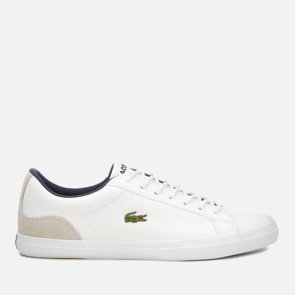 4212025bf2a10c Lacoste Men s Lerond 318 3 Leather Suede Trainers - White Navy Mens ...