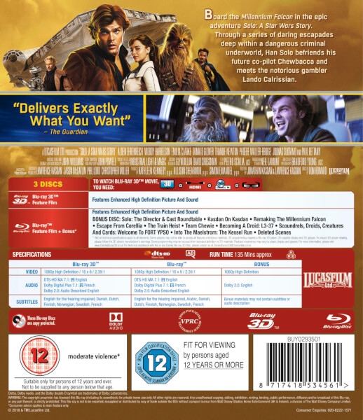 Solo A Star Wars Story 3d Blu Ray Zavvi