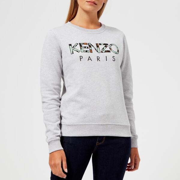 KENZO Women's Light Cotton Molleton Logo Sweatshirt - Grey