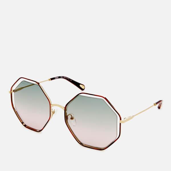 09758221b3e Chloe Women s Poppy Octagon Frame Sunglasses - Havana Green Rose  Image 2