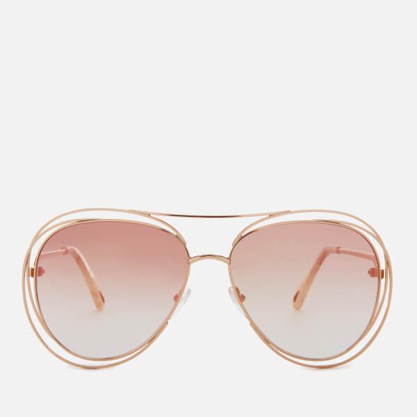 c7b5d66fdad8c Chloe Women s Carlina Aviator Style Sunglasses - Gold Marble  Image 1