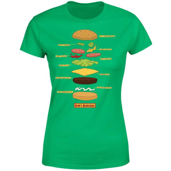 Bobs Burgers Expanded Burger Women's T-Shirt - Kelly Green