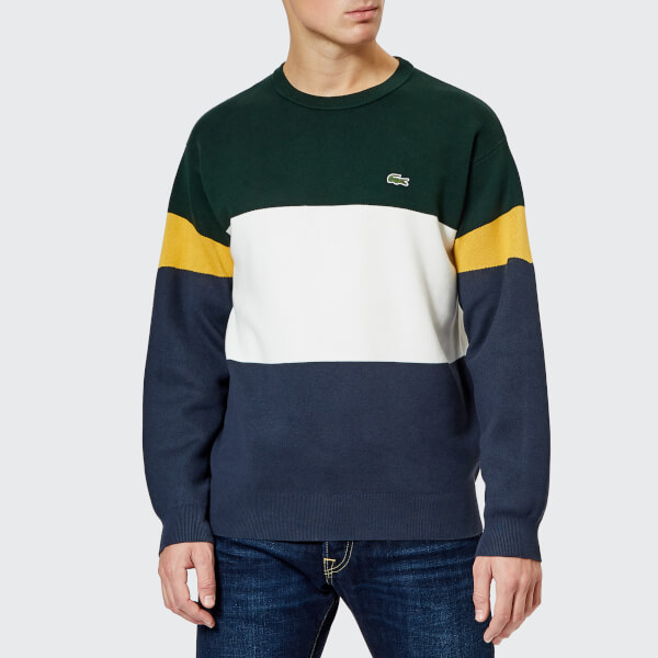 7ebaf0180539a Lacoste Men s Colour Block Knitted Jumper - Meridian Blue Flour Sinople   Image 1