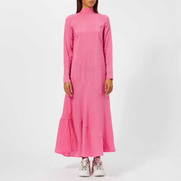 Ganni Women S Lynch Seersucker Dress Hot Pink Free Uk Delivery