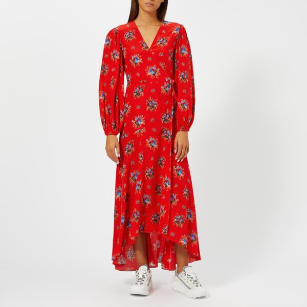 Ganni Women's Kochhar Print Long Dress - Fiery Red