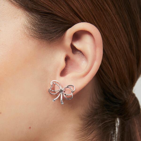66ed78376 Ted Baker Women's Lakia: Small Heart Bow Stud Earrings - Silver/Crystal:  Image