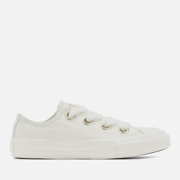 fa25bda937d Converse Kids  Chuck Taylor All Star Big Eyelets Ox Trainers - Vintage  White  Image