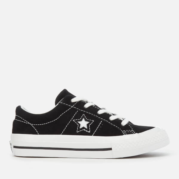 Converse Kids' One Star Ox Trainers - Black/White/White