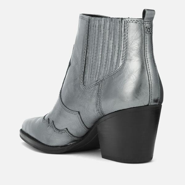 8548d1ee172df2 Sam Edelman Women s Winona Distressed Metallic Leather Western Boots -  Anthracite  Image 2