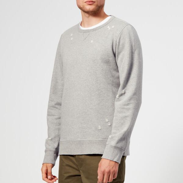 Officine Générale Men's Destroyed Crew Sweatshirt - Grey Heather