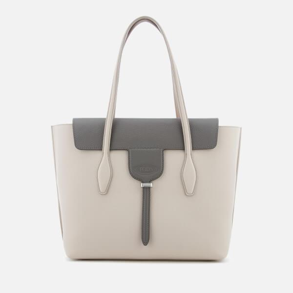 Tod's Women's Shopping Tote Bag - Light Grey/Dark Grey