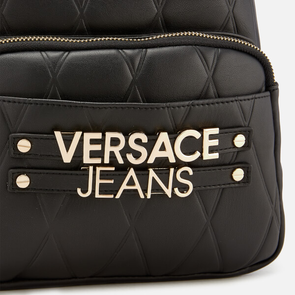 84f8a0bd52b Versace Jeans Women s Quilted Logo Backpack with Chain Detail - Black   Image 4
