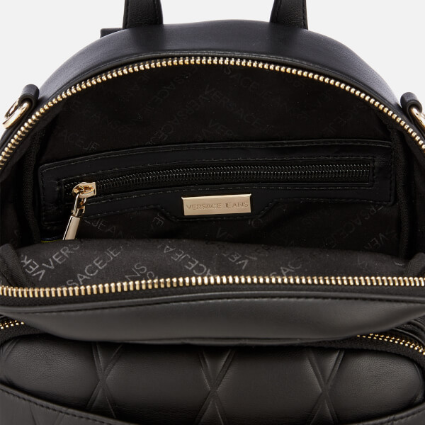 f1ed3f6573 Versace Jeans Women s Quilted Logo Backpack with Chain Detail - Black   Image 5