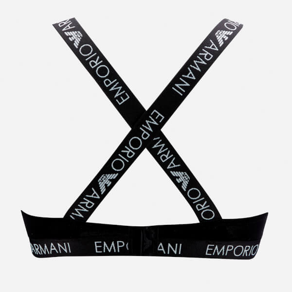 eb55446333443a Emporio Armani Women s Iconic Logoband Triangle Bra - Black  Image 2