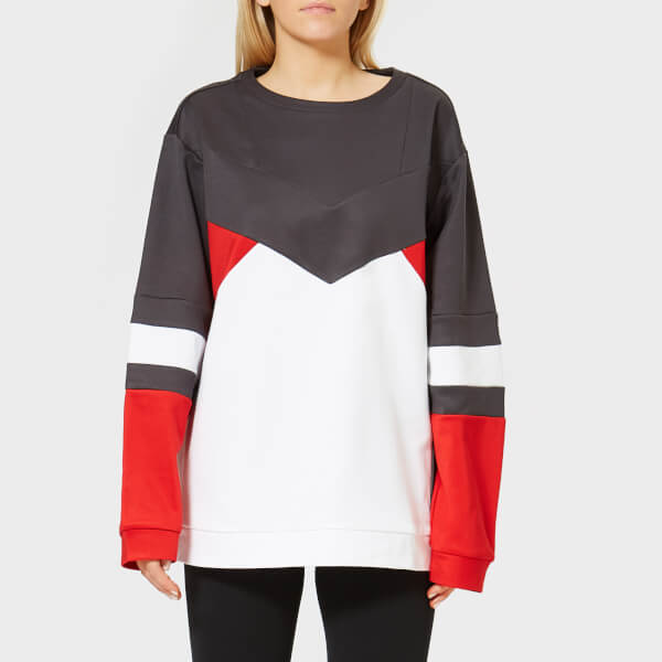 db345c3b8f Calvin Klein Performance Women s Pullover Sweatshirt - Gunmetal Bright  White Racing Red