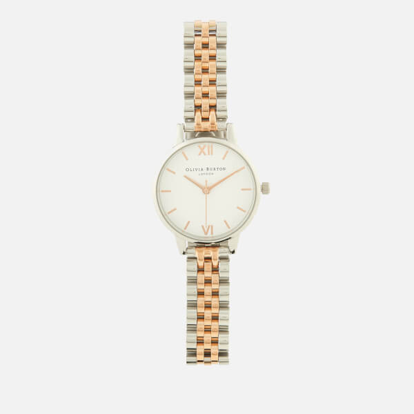 Olivia Burton Women's White Dial Bracelet Watch - Rose Gold/Silver Bracelet