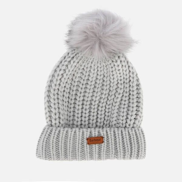 43e66f7699b1f ... Knit Pom Hat - Light Grey. £45.00. Barbour Women s Saltburn Beanie - Ice  White  Image 1