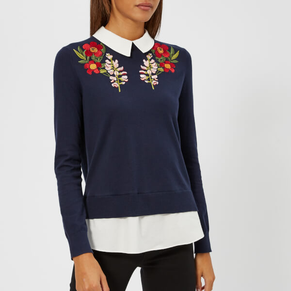 9bc39f42da9e8b Ted Baker Women s Toriey Embroidered Mockable Knitted Jumper - Blue ...