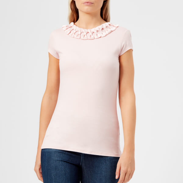 b36899048a3bc5 Ted Baker Women s Charre Bow Neck Detail Fitted T-Shirt - Nude Pink ...