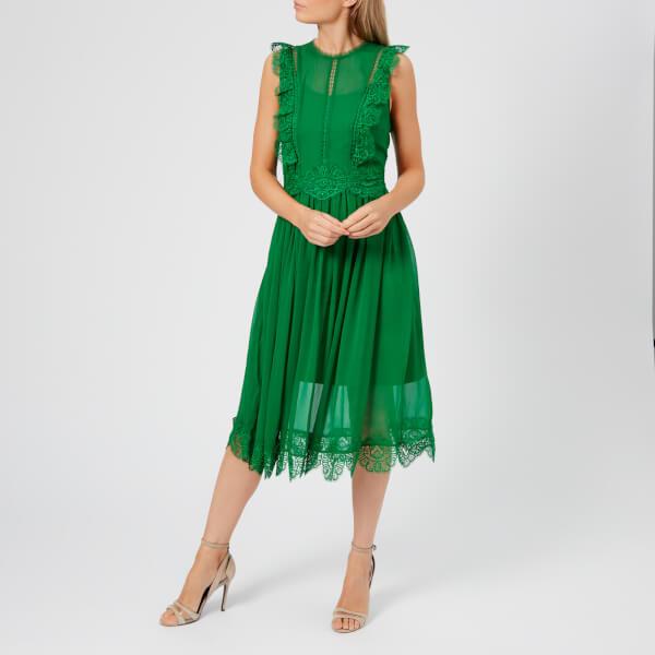 510f45cb3c72e2 Ted Baker Women s Porrla Frill Lace Midi Dress - Bright Green Womens ...