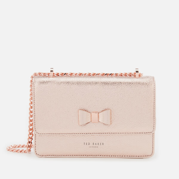ccd4c5d65 Ted Baker Women s Drayaa Bow Detail Micro Metallic Cross Body Bag - Rosegold   Image 1