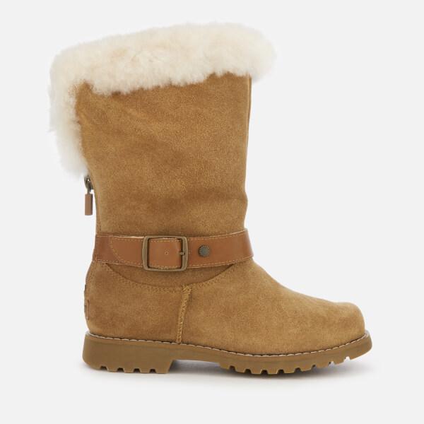 UGG Kid's Nessa Suede Buckle Boots - Chestnut