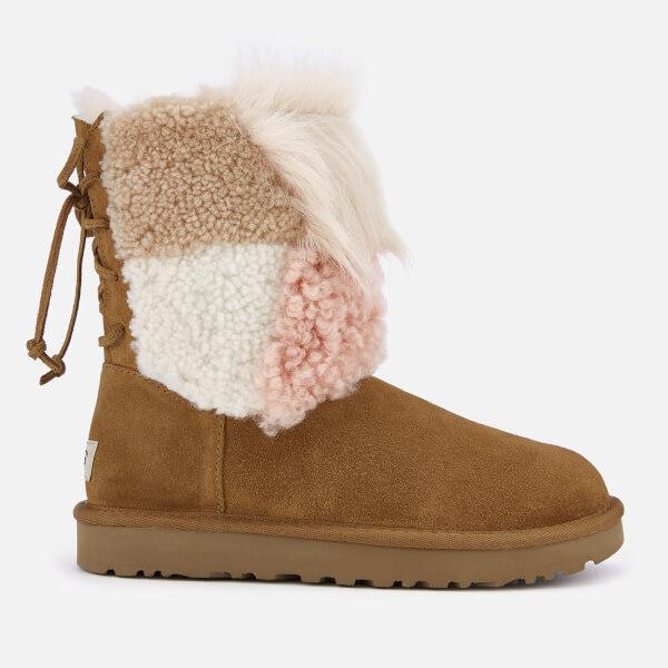 UGG Women's Classic Short Patchwork Fur Sheepskin Boots - Chestnut