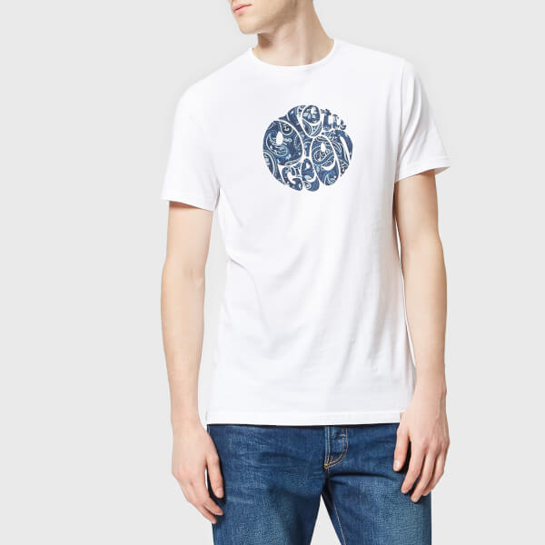 3c12d2e418b Pretty Green Men s Thornley Paisley Logo T-Shirt - White Navy  Image 1