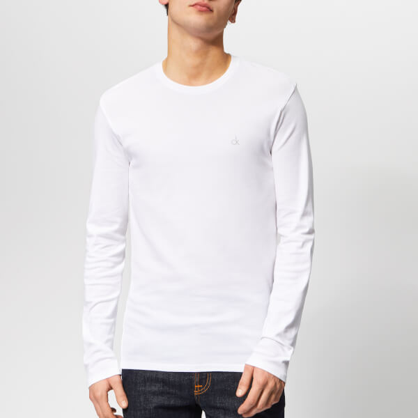 38a38784140 Calvin Klein Men s Long Sleeve Crew Neck T-Shirt - White Mens ...