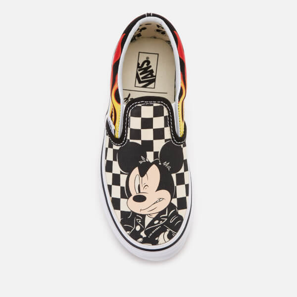 Vans Kid s Disney Mickey   Minnie Classic Slip-On Trainers - Checker Flame   Image f411a1db2