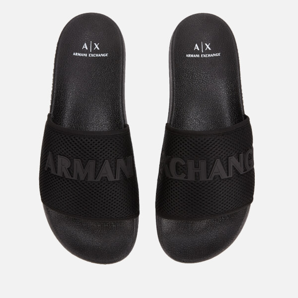 8ee5d62e9 Armani Exchange Men s Mesh Slide Sandals - Black  Image 1
