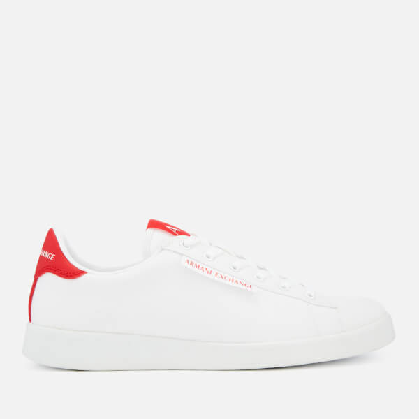 Armani Exchange Men's Canvas Low Top Trainers - White/Red