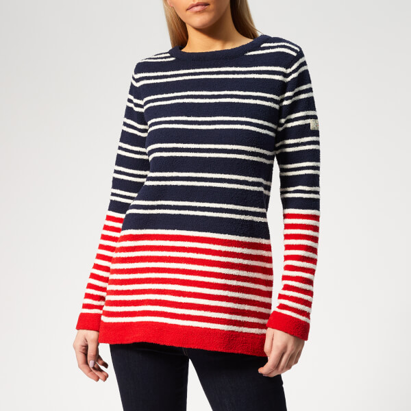 Joules Women's Seaham Chenille Jumper - Navy/Cream/Red