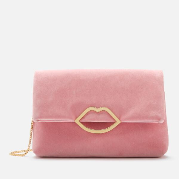 Lulu Guinness Women's Half Covered Lip Velvet Issy Clutch Bag - Dusky Pink
